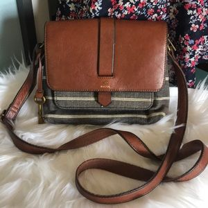 Fossil Kinley Striped Chambray & Leather crossbody